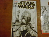 STAR WARS#1 variant w/ORIGINAL BOBA FETT sketch cover ART!!