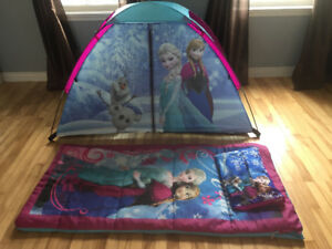 Frozen play tent with Frozen sleeping bag and pillow