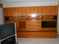 Solid Teak wall unit (can separate into 3 individual sections)