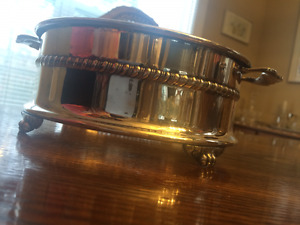 SILVER PLATED WATER  & JUICE JUGS,  TWO-HANDLED CASSEROLE HOLDER
