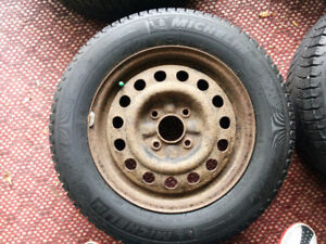 Steel rims with Micheline winter tires
