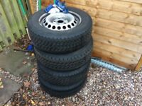 205 65 16 Vw t5 steel wheels with tyres x8 wheels