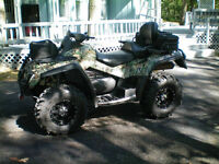 Can-Am 4X4 Camo ATV with Plow and Trailer Hitch