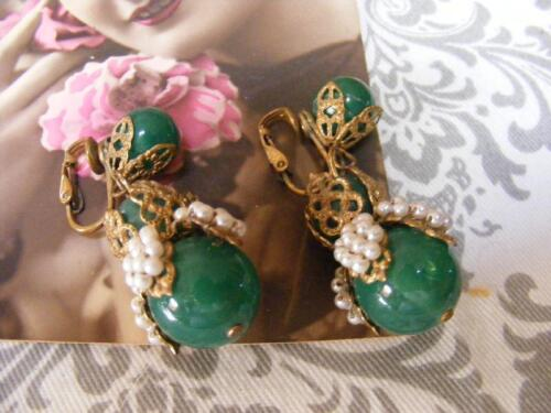 Miriam Haskell Style GREEN drop EARRINGS Seed Bead Pearls Cluster filigree Vtg