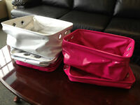 Set of 5 Collapsible Pink & White Stoarage Baskets