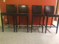 4 brown leather bar stools
