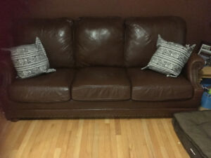 Genuine Leather Couch and Chair