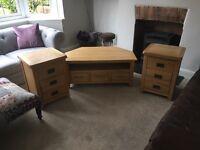 Solid oak bedside drawers and TV cabinet