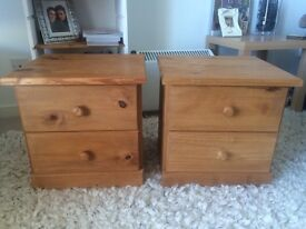 2 pine bedside cabinets draws