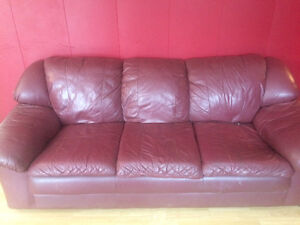 Leather couch and love seat