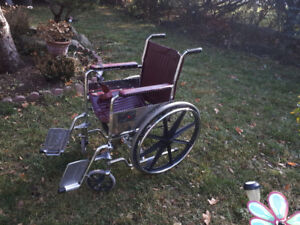 Everest & Jennings Aluminum Assisted Wheelchair - burgundy
