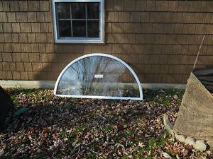 Window, NEW,half moon59-1/2x29-3/4white &2 fixed 29-3/4x94white