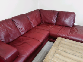 *URGENT* DFS 5 Seater Right Corner Dark Brown/Redish Leather Sofa