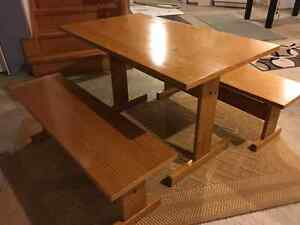 Pine Dining Table and Benches