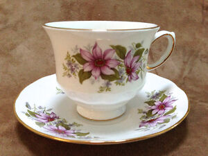 English Bone China Tea Cup & Saucer - Purpe Floral Pattern