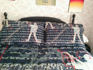 Rock & Roll Comforter and Pillow Shams; Boy's Room Dbl & Twin
