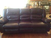 Leatherette reclining sofa