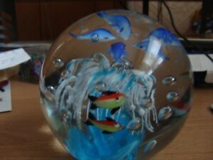 LARGER GLASS PAPERWEIGHT OR DECORATION