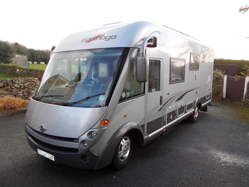 Carthago chic e line i47 luxury a class 4 berth motorhome for Class a rv with car garage