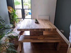 San Quentin reclaimed wood Square dining table and 2 benches