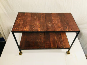 Hand built accent table with casters