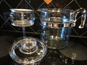 1950's Pyrex Blue Glass Flameware Coffee Perculator & Tea Pot