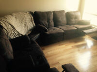 Chocolate brown microfibre reclining sectional couch