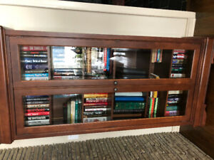 Mahogany book shelves with glass front doors