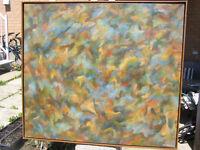 Grande Toile 32 X 36 Pouces Huile Abstraite Artiste Paul Bolduc