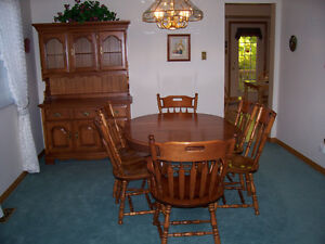 Dining Table , Chairs and Hutch.  Solid Maple