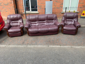 3+1+1 reclining leather sofa with 2 reclining armchairs