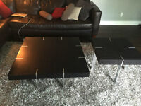 Coffee Table with matching side table / Modern dark brown