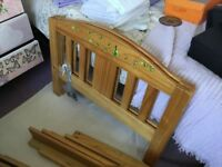 Toddler bed which can increase in size (dismantled), with mattress if wanted.