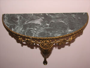 VTG Large Ornate Decorative Half Moon Wall Shelf, Faux Marble Kitchener / Waterloo Kitchener Area image 2