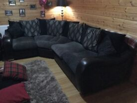 DFS corner sofa and matching swivel cuddle chair