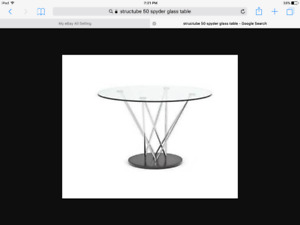 Structube 50in spyder glass table with 4 parsons chairs