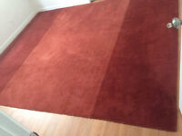 """Pottery Barn 100% Wool Rug/Carpet Two-Tone Red 9"""" x 12"""""""