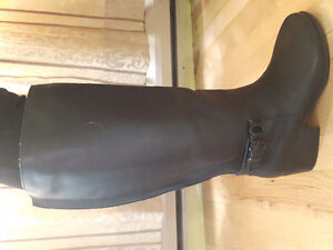 Women's leather, wide-calf boots