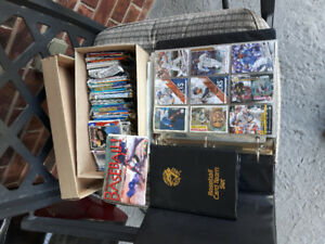 Couple of binders and a box of baseball cards various Brands