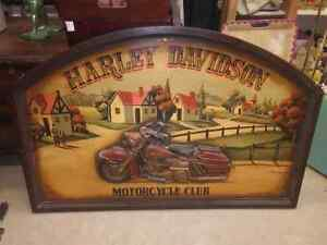 HUGE VINTAGE HARLEY DAVIDSON MOTORCYCLE SIGN ALL WOOD & HEAVY!
