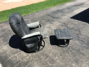 Leather Recliner / glider and ottoman