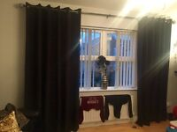 Black double lined eyelet curtains