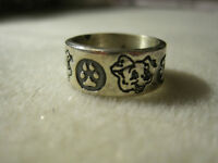 Vintage Dog Face and Paw Print Sterling Silver Ring