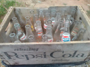 Vintage antique PEPSI bottles and original wooden case