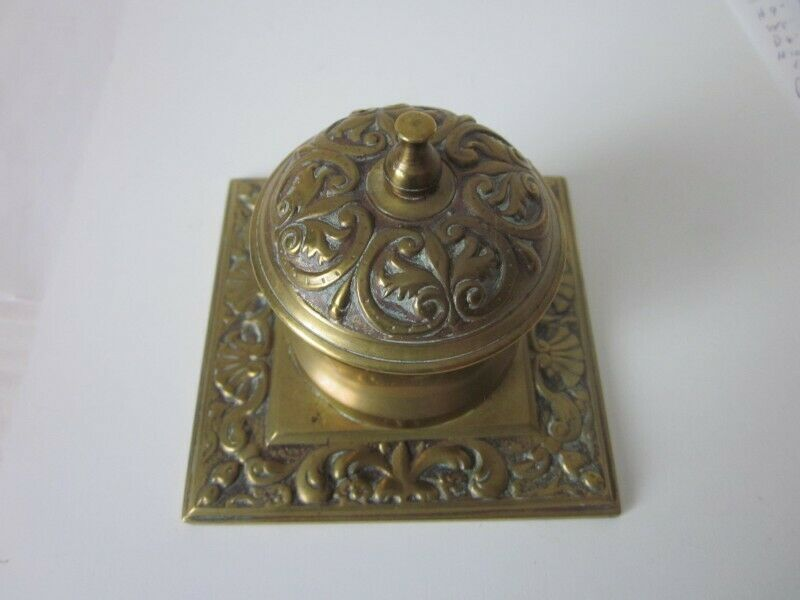 Vintage Brass Inkwell with Lid , Victorian Style, Square Base 1950's.