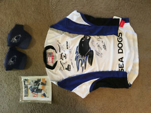 St. John Seadog jersey signed by Memorial cup + hats / autograph
