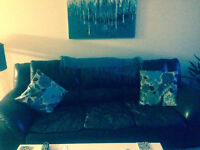 Dark brown leather extra-long couch & chair for sale