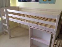 Single cabin bed with pull out desk in white