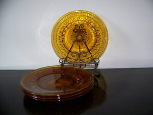 12 Amber Plates 8 inch