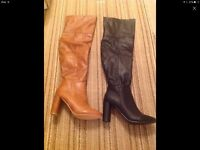 2 pairs of leather boots